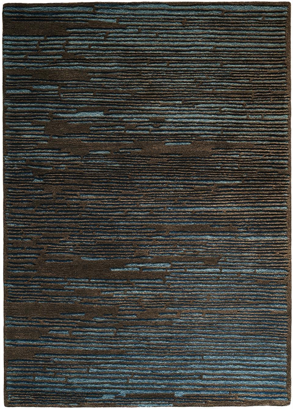 Rayures en relief marron sur fond bleu tufté main 100% laine ...