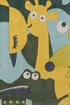 Tapis enfant Zooland bleu 110x110cm. Toulemonde Bochart.
