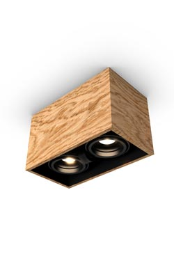 Mini spot 2 lights in oak 22x12cm. Trilum.