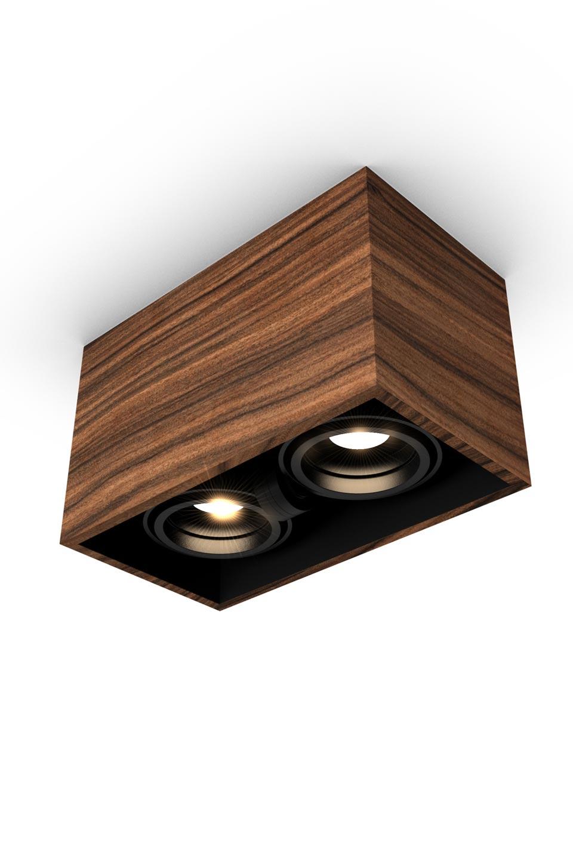 Mini Chalet En Bois spotlight design in wood and led, available in spot 1, 2, 3 lights