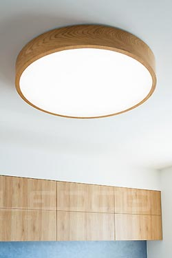 Woodled Round Ceiling Lamp In Oak