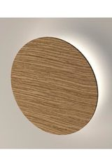 Roondy round wall lamp in oak wood 28cm. Trilum.