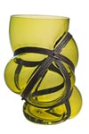 Xtreme vase in blown glass and metal straps. Vanessa Mitrani.