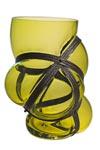 Vase Xtreme en verre soufflé et lanières en métal. Vanessa Mitrani.