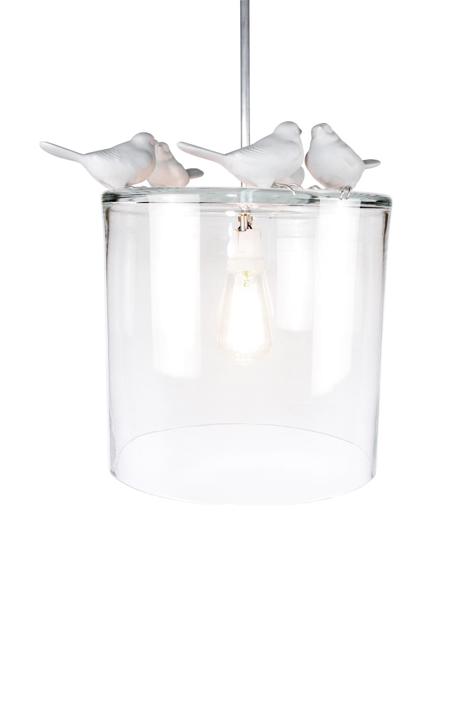 suspension autumn oiseaux en porcelaine blanche et tain vanessa mitrani luminaires et. Black Bedroom Furniture Sets. Home Design Ideas