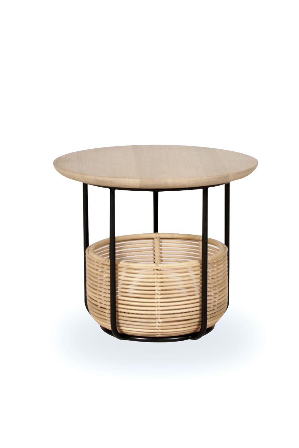 Vivi small table and basket in black metal and rattan. Vincent Sheppard.