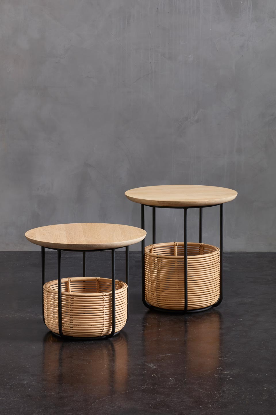Picture of: Vivi Small Table And Basket In Black Metal And Rattan Vincent Sheppard Contemporary Design Lighting Ref 18110063