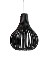 Bulb pendant lamp in black rattan bulb shape. Vincent Sheppard.