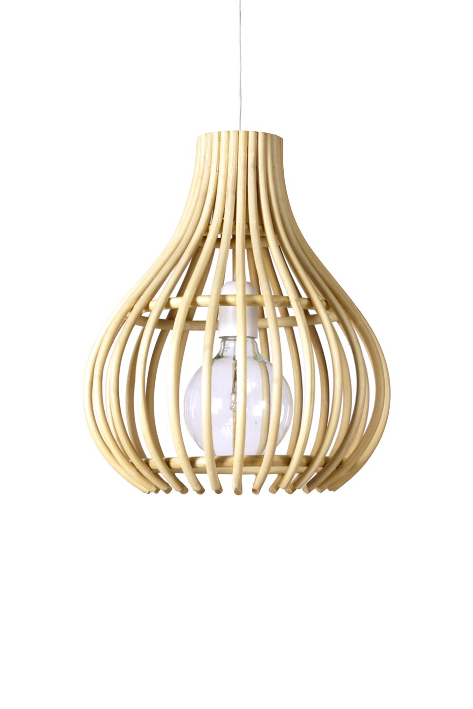 Mini Chalet En Bois small pendant, bulb shape, available in black and in large model