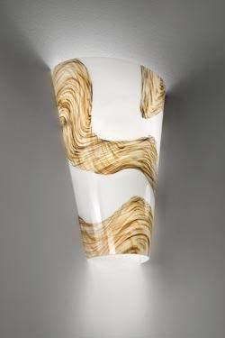 Applique Cleo en cristal de Murano soufflé bouche décor argent et or . Vistosi.