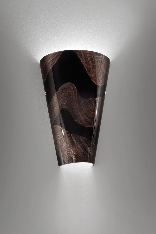 Applique Cleo en cristal de Murano soufflé bouche décor or et argent . Vistosi.