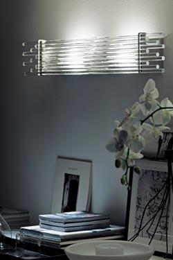 Applique Diadema en verre de Murano soufflé bouche transparent. Vistosi.