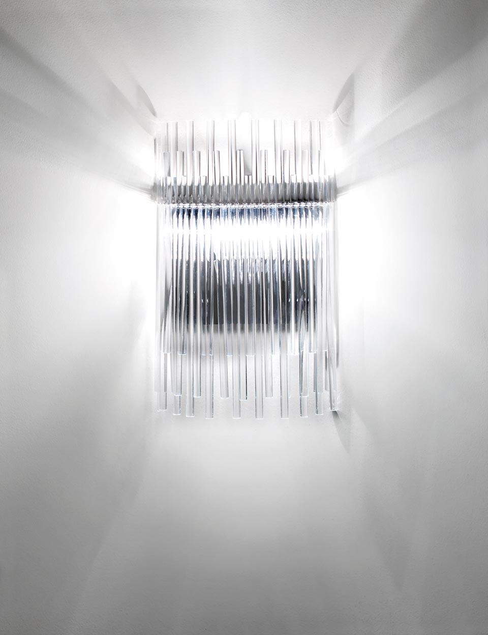 Applique Diadema en verre de Murano soufflé bouche transparent . Vistosi.