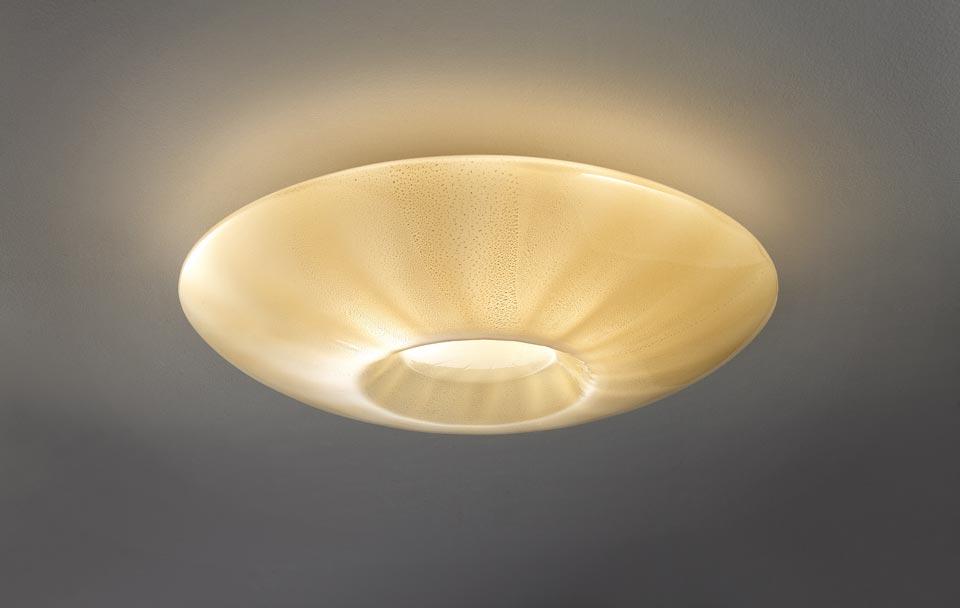 Applique/plafonnier Goto ambre en cristal de Murano or 24 carats. Vistosi.
