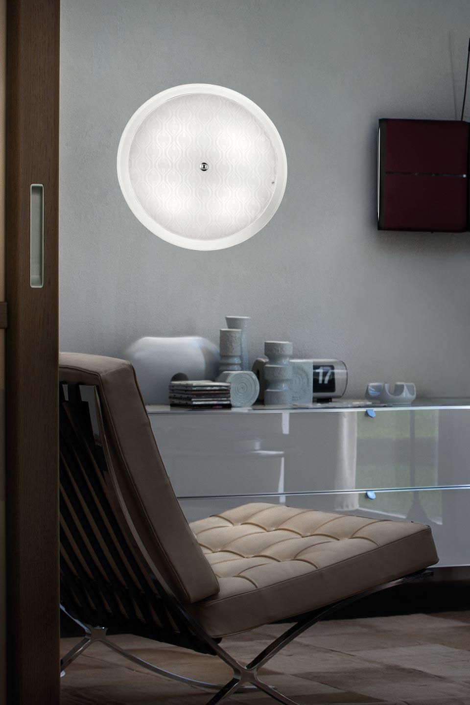 Applique/plafonnier Incass en cristal de Murano blanc gravé. Vistosi.