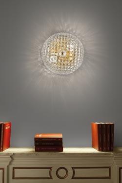 Applique San Marco en cristal de Murano transparent moulé. Vistosi.