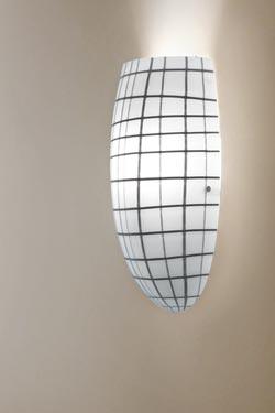 Applique Yuba en cristal de Murano blanc et noir . Vistosi.