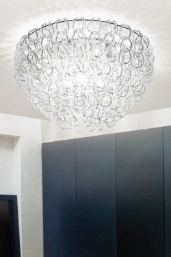 Ceiling light in clear glass rings Giogali PL 80 . Vistosi.