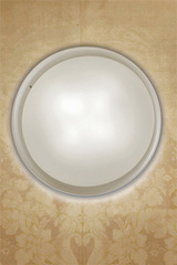 Pod ceiling lamp or wall light Murano glass disc clear and frosted white 43cm. Vistosi.