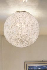 Sphere ceiling lamp in blown white glass murrine Rina PL35. Vistosi.