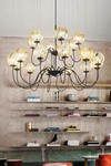 Puppet 18-lights amber glass chandelier. Vistosi.