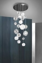 Waterfall chandelier  9 lights , striated glass balls Oto. Vistosi.