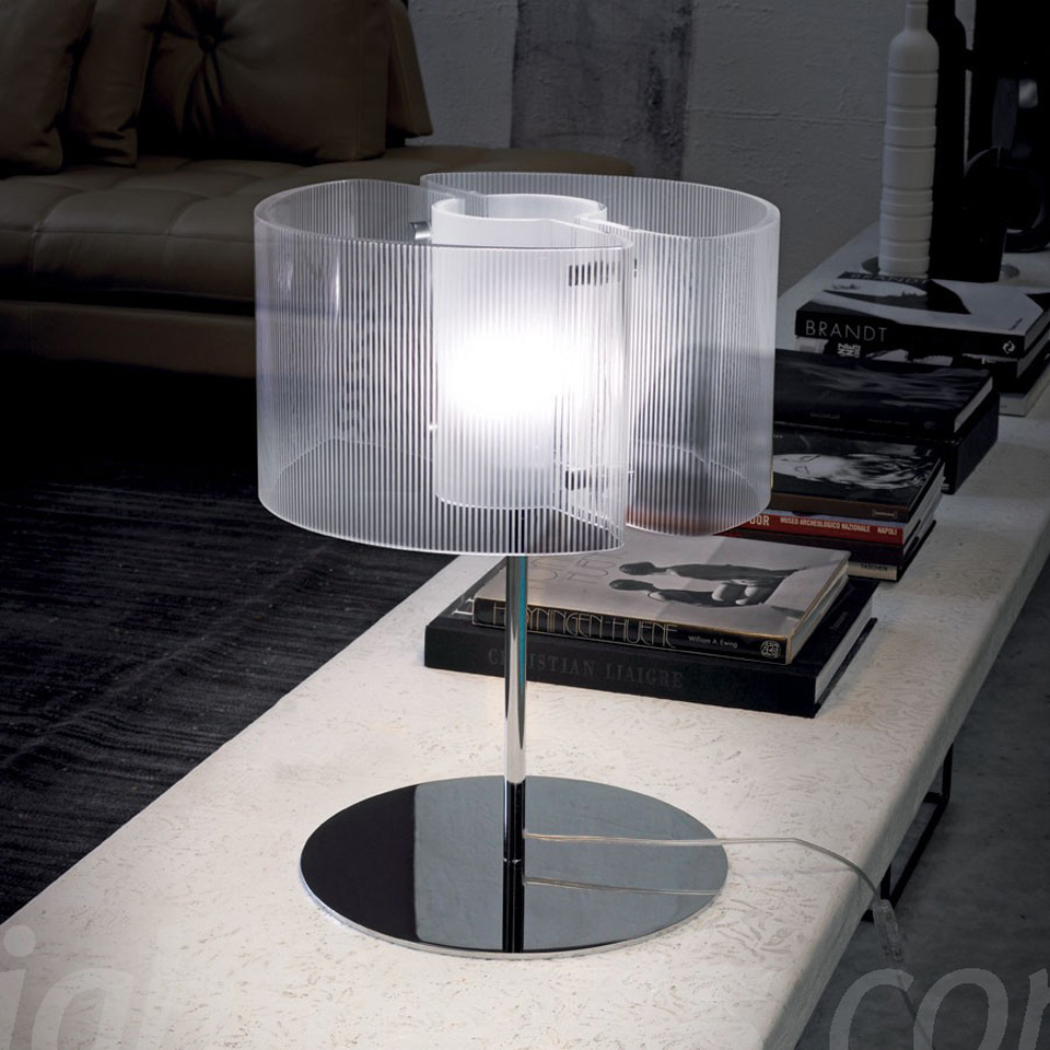 Chimera lampe en verre de Murano cylindre dépoli en rayures. Vistosi.