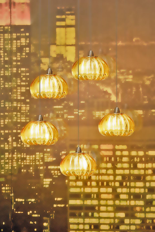 Diamante suspension en cristal de murano ambre cinq - Suspension en cristal ...