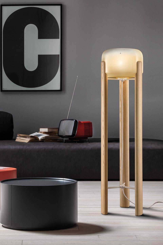 Lamp Geometric Wooden Glass3 Murano Legs Floor ShadeAmber 54R3AjL