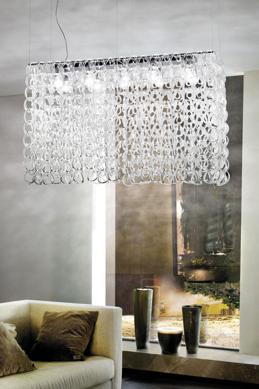 Giogali suspension en maillons de cristal transparent - Suspension en cristal ...
