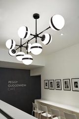 Grand lustre noir brillant et verre opale Peggy . Vistosi.
