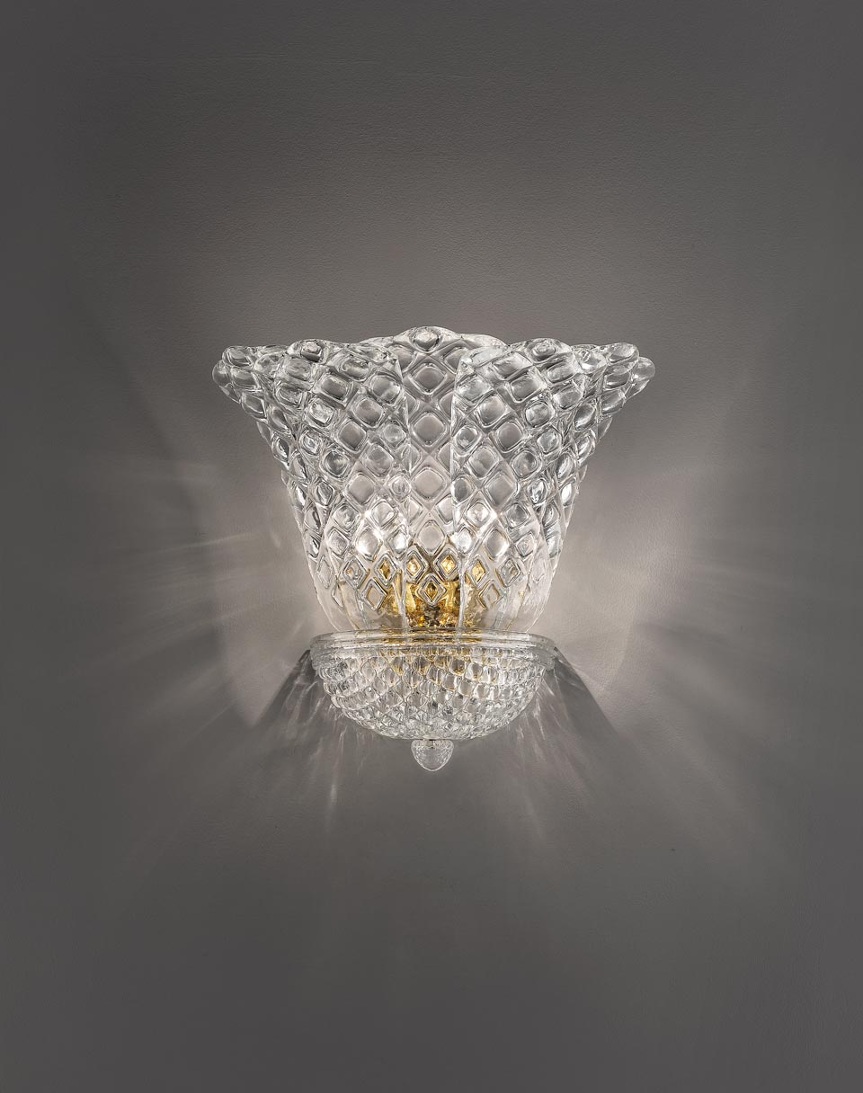 Grande applique San Marco en cristal de Murano moulé transparent. Vistosi.