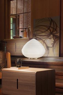 Grande lampe de table Spirit en cristal de Murano soufflé bouche blanc brillant . Vistosi.