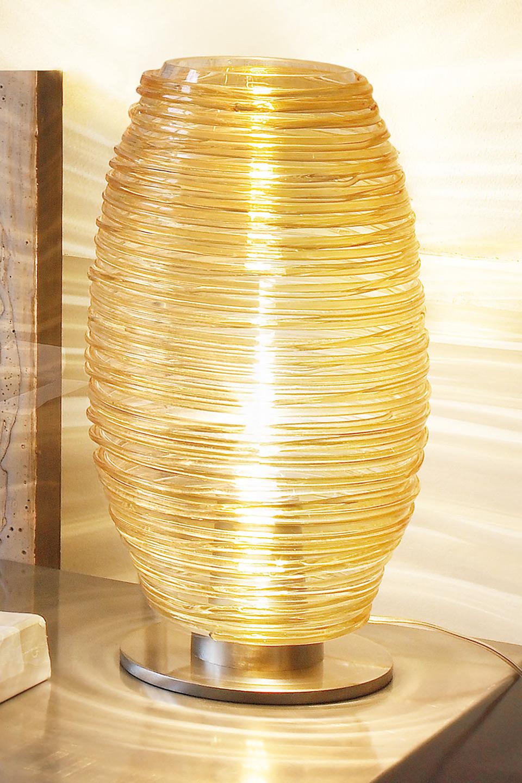 Grande lampe en cristal de Murano filé ambre collection Damasco. Vistosi.