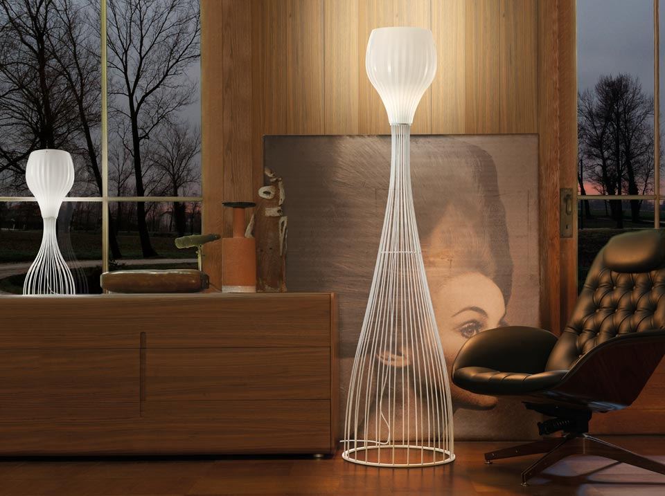 Lampadaire Reder en cristal de Murano blanc brillant et transparent. Vistosi.