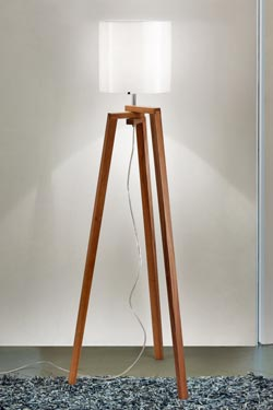 Lampadaire trépied en bois de noyer et verre de Murano Trepai - verrerie blanche. Vistosi.