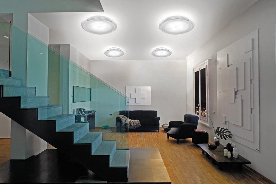 Pod plafonnier ou applique murale disque verre de murano incolore