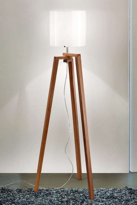 lampadaire tr pied en bois de noyer et verre de murano trepai verrerie blanche r f 13110161. Black Bedroom Furniture Sets. Home Design Ideas