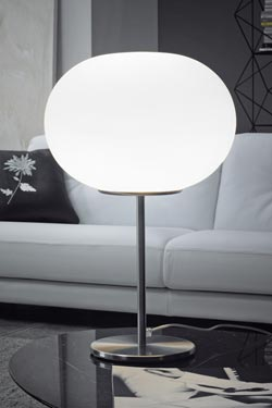 Lampe de table boule blanche Lucciola. Vistosi.