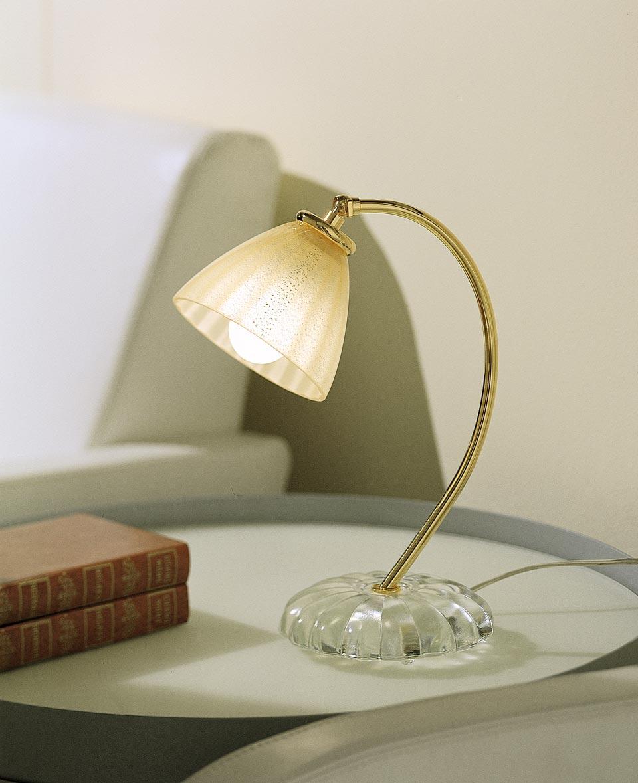 Lampe de table Gloria en cristal de Murano en verre rigadin . Vistosi.