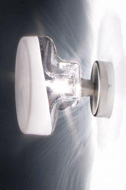 Magie petite applique en verre soufflé transparent face avant dépolie. Vistosi.