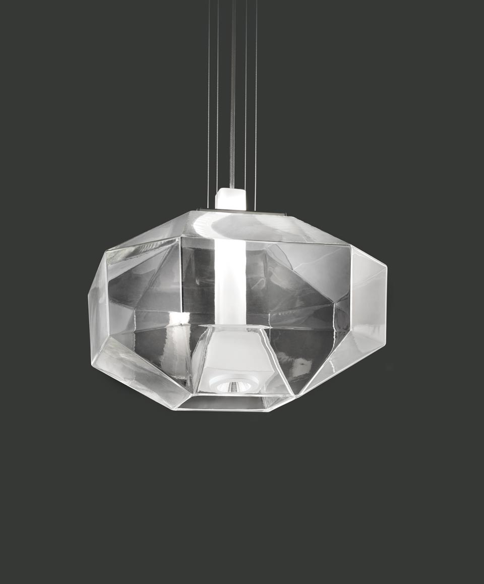 Cutted Like A Stone Pendant Black Nickel Structure Led Light