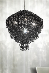 Giogali SP 80 A round pendant in black handmade glass hooks. Vistosi.