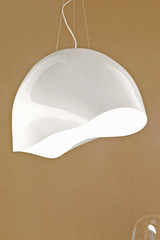 Large flattened globe pendant in white opaline glass Ninfea. Vistosi.