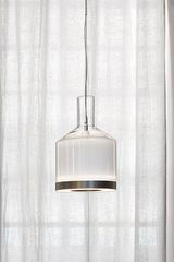 Medea graphic pendant lamp in white glass. Vistosi.