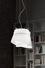 Pendant with 2 white opale glass shade pendant Aria. Vistosi.