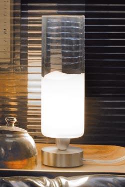 Petite lampe en cristal de Murano transparente et blanche en cylindre Collection Lio. Vistosi.