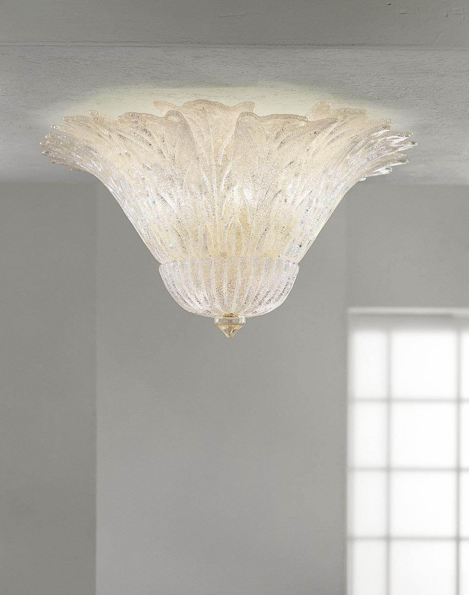 Plafonnier Redentore en cristal de Murano et paillettes d