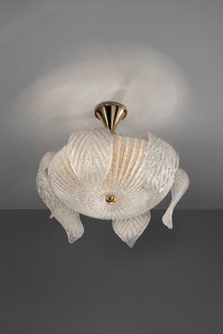 Plafonnier Riga en cristal de Murano moulé  et métal doré. Vistosi.