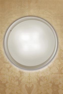 Pod plafonnier ou applique murale disque verre de Murano incolore et dépoli blanc 43cm. Vistosi.